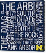Michigan College Colors Subway Art Acrylic Print by Replay Photos