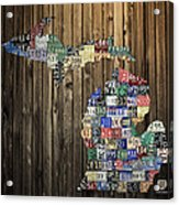 Michigan Counties State License Plate Map Acrylic Print by Design Turnpike