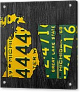 Michigan Love Recycled Vintage License Plate Art State Shape Lettering Phrase Acrylic Print by Design Turnpike