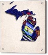 Michigan Map Art With Flag Design Acrylic Print