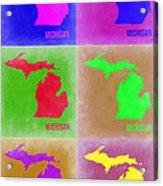 Michigan Pop Art Map 2 Acrylic Print