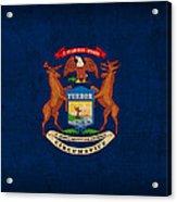 Michigan State Flag Art On Worn Canvas Acrylic Print
