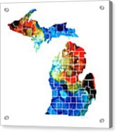 Michigan State Map - Counties By Sharon Cummings Acrylic Print