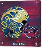 Michigan Wolverines College Football Helmet Vintage License Plate Art Acrylic Print