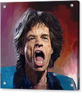 Mick Jagger Painting Acrylic Print by Robert Wheater