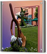 Mickey And Broom Floral Walt Disney World Hollywood Studios Acrylic Print