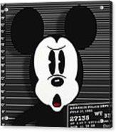 Mickey Mouse Disney Mug Shot Acrylic Print by Tony Rubino
