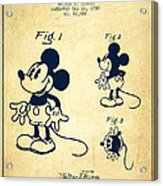 Mickey Mouse Patent Drawing From 1930 - Vintage Acrylic Print