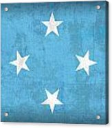 Micronesia Flag Vintage Distressed Finish Acrylic Print