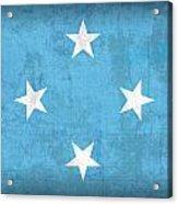 Micronesia Flag Vintage Distressed Finish Acrylic Print