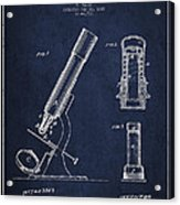 Microscope Patent Drawing From 1865 - Navy Blue Acrylic Print