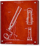 Microscope Patent Drawing From 1865 - Red Acrylic Print