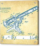 Microscope Patent Drawing From 1915 - Vintage Paper Acrylic Print