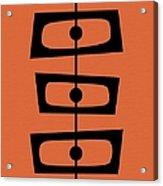 Mid Century Shapes On Orange Acrylic Print