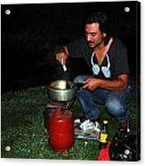 Mid Night Cooking At River Bank Acrylic Print