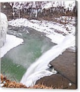 Middle Falls And Ice Feathers Acrylic Print