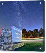 Midnight At Mount Mitchell Entrance Sign Acrylic Print