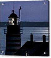 Midnight Moonlight On West Quoddy Head Lighthouse Acrylic Print