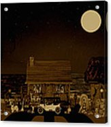 Midnight Near The Sea In Sepia Color Acrylic Print