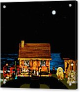 Log Cabin Scene Near The Ocean At Midnight Acrylic Print by Leslie Crotty