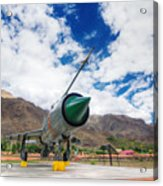 Mig-21 Fighter Plane Of Indian Air Force Used In Kargil War Displayed As Victorious Memory Acrylic Print