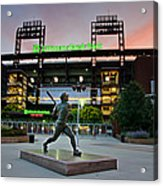 Mike Schmidt Statue At Dawn Acrylic Print