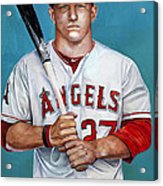Mike Trout - La Angels Of Anaheim Acrylic Print by Michael  Pattison