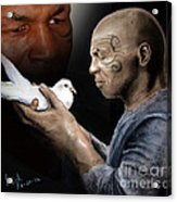 Mike Tyson And Pigeon II Acrylic Print by Jim Fitzpatrick