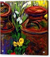 Milk Cans At Flower Show Sold Acrylic Print