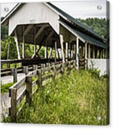 Millers Run Covered Bridge Acrylic Print by Edward Fielding