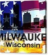 Milwaukee Wi Patriotic Large Cityscape Acrylic Print