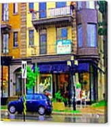 Mimi And Coco Clothing Boutique Laurier In The Rain  Plateau Montreal City Scenes Carole Spandau Art Acrylic Print