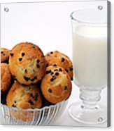 Mini Chocolate Chip Muffins And Milk - Bakery - Snack - Dairy - 1 Acrylic Print