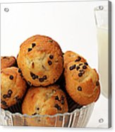 Mini Chocolate Chip Muffins And Milk - Bakery - Snack - Dairy - 3 Acrylic Print