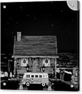 Miniature Log Cabin Scene With Old Vintage Classic 1962 Coca Cola Flower Power V.w. Bus In B/w Acrylic Print by Leslie Crotty