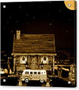 Miniature Log Cabin Scene With Old Vintage Classic 1962 Coca Cola Flower Power V.w. Bus In Sepia  Acrylic Print by Leslie Crotty