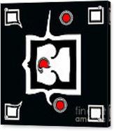Minimalism Abstract Geometric Black White Red Art No.390. Acrylic Print by Drinka Mercep