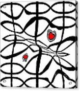 Minimalist Art Black White Red Abstract Art No.206. Acrylic Print