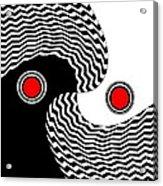 Minimalist Op Art Black White Red No.216 Acrylic Print by Drinka Mercep
