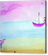 Minimalist Seascape Acrylic Print by Jo Ann