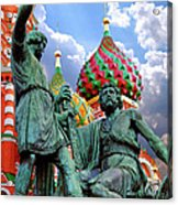 Minin And Pozharsky Monument In Moscow Acrylic Print by Oleksiy Maksymenko