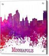 Minneapolis City Skyline Purple Acrylic Print