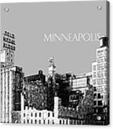 Minneapolis Skyline Mill City Museum - Silver Acrylic Print