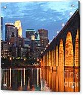 Minneapolis Skyline Photography Stone Arch Bridge Acrylic Print