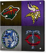Minneapolis Sports Fan Recycled Vintage Minnesota License Plate Art Wild Vikings Timberwolves Twins Acrylic Print