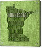 Minnesota Word Art State Map On Canvas Acrylic Print