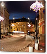 Miodowa Street In Warsaw At Night Acrylic Print