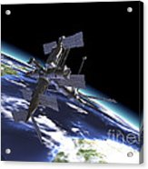 Mir Russian Space Station In Orbit Acrylic Print by Leonello Calvetti
