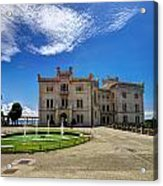 Miramare Castle With Fountain Acrylic Print
