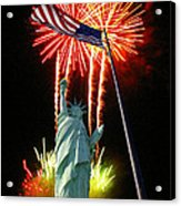 Miss Liberty And Fireworks Acrylic Print